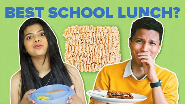 "Two Indian People with plates in their hand and an image of Maggi with the text ""Best School Lunch?""."