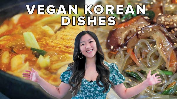 Jasmine with her favorite Korean dishes.