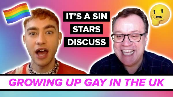 Colourful image of two men with the text it's a sin stars discuss growing up gay in the uk