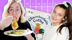 In the foreground, Lindsay eats a plate of eggs next to a picture of Emma Chamberlain. In the background, a close up of Chamberlain coffee packaging and the days of the week.