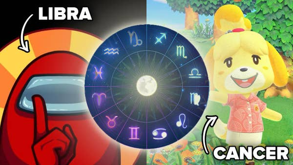 The zodiac sign Libra is pointing to a character from the game Among Us, while the zodiac sign Cancer is pointing to a character from Animal Crossings New Horizons. The zodiac wheel is in the middle of the image.