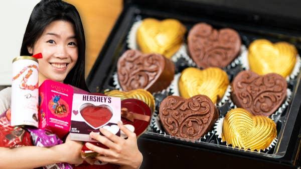 Inga holding a lot of chocolate.