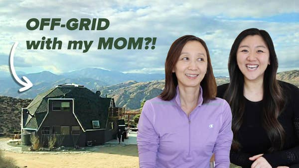 Jasmine and her mom in front of off-grid home.