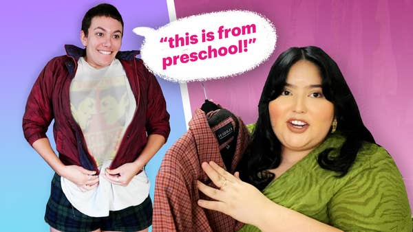 "On the left, Megan Boykoff tries to zip up a very small red jacket. A speech bubble extends from her head, the text within reading: ""This is from preschool!"" On the right, Jessica Torres is in the foreground holding a blazer dress."