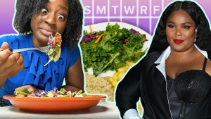Woman in blue shirt with exaggerated eyes stares at salad. Weekly calendar. Lizzo in black dress.
