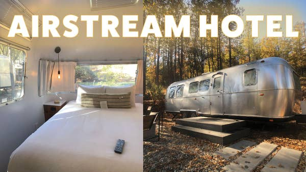 Split screen of the airstream bedroom and the outside of an airstream.