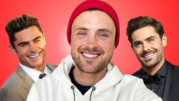 Dylan Efron with two photos of Zac Efron