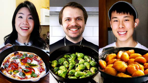 Inga, Andrew, and Alvin with dishes they made in cast iron pans.