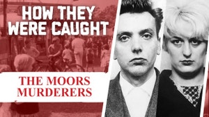 An image of Ian Brady and Myra Hindley, also known as The Moors Murderers, with the title of the show beside them.