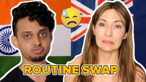 aniket looking annoyed next to evelyn who's face looks like it's sorry. in the back ground there is the indian and australian flag next to each other, with the text routine swap at the bottom and a sweat emoji.