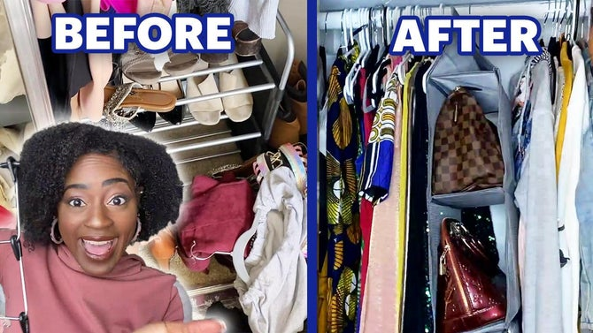Vivian is happy about her newly organized closet with before and after pictures behind her.