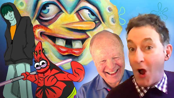 Tom and Bill next to artwork.