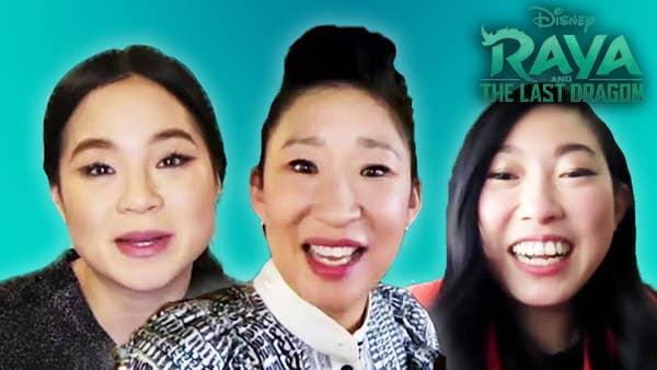 "Cast of ""Raya The Last Dragon"". Kelly Marie Tran, Awkwafina and Sandra Oh."