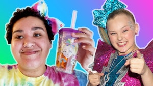 On the left, Jazzmyne wears a tie dye shirt while holding a Jojo Siwa sippy cup and wearing a rainbow bow in her hair. On the right, is a photo of Jojo Siwa pointing at camera and smiling.