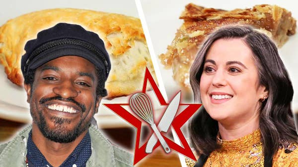 Andre 3000 and Claire Saffitz photos and behind them is a picture of their apple pie recipes.