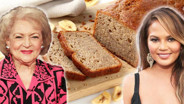 A photo of Betty White and Chrissy Teigen with a photo of a banana bread  behind them.