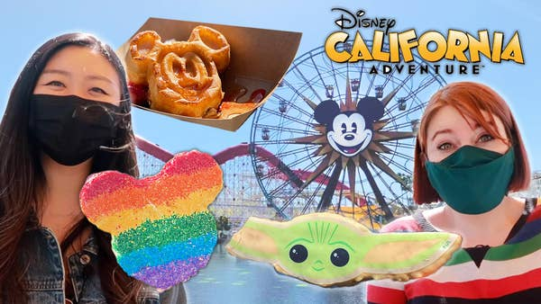 Jasmine on left, Katie on right, mickey shaped waffle, mickey shaped rice krispy, baby yoda krispy, disney california adventure in the background