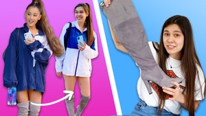 On the left, a photo of Ariana grande wearing a blue windbreaker and thigh high boots and a photo of Mei Eldridge wearing a windbreaker and thigh high boots. On the right, Mei Eldridge holds up a grey thigh high boot and makes a confused face.
