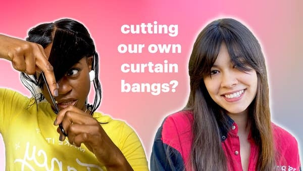 Vivian is cutting her bangs and Mei smiles with her new curtain bangs.