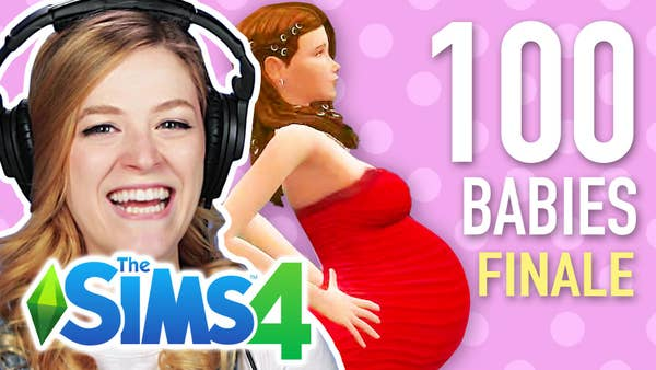 Kelsey smiles in front of a pregnant Sims character