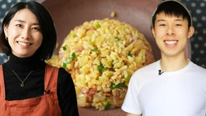Photos of Rie and Alvin smiling in front of a photo of an egg fried rice dish made with Rie's recipe.