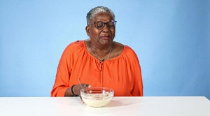 Disgusted Grandma doing a taste test of grits
