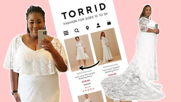 Destiny and Jazzmyne wearing dresses from Torrid. In the middle of them is a screenshoot of Torrid's website.