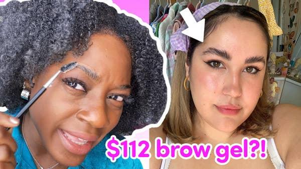 Vivian and Julianna doing their eyebrows.