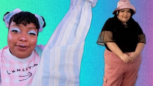 Set against a gradient background of green, blue and pink. On the left, Aaliyah, in pastel clothes, holds up a blue and white striped shirt with a questioning expression on her face. On the right, Jessica wears a black t shirt with pink pants and hat.