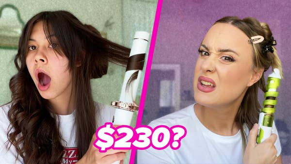 Mei and Spenser react to using automatic hair curlers.
