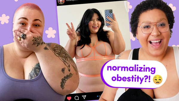 """Two plus-sized people are making shocked faces. A photo of a plus model in lingerie is in the background. Text reads """"Normalizing obesity?"""""""