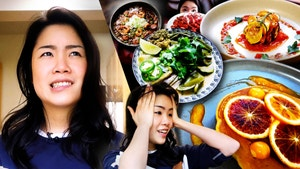 Inga and a collage of different brightly colored dishes.