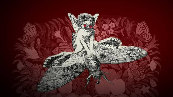 A black and white fairy with red glowing eyes rides on the back of a moth over a vignetted red floral background.