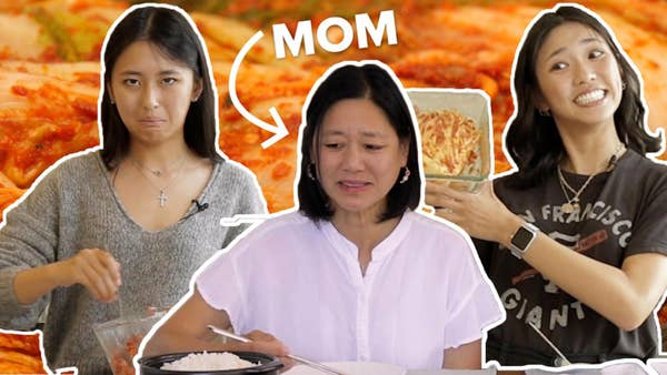 two sisters cooking kimchi and mom tasting it making an unhappy face