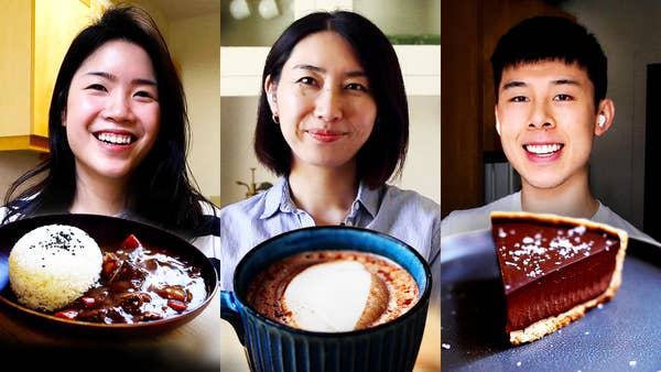 Inga, Rie, And Alvin with the dishes they made using chocolate.