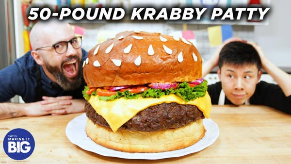 An astonished Alvin and guest, Andrew Rea are look ready to eat the 50-Pound Krabby Patty.