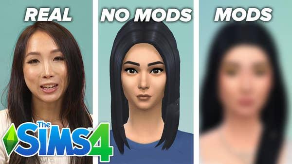 Herrine standing next to Sims characters.