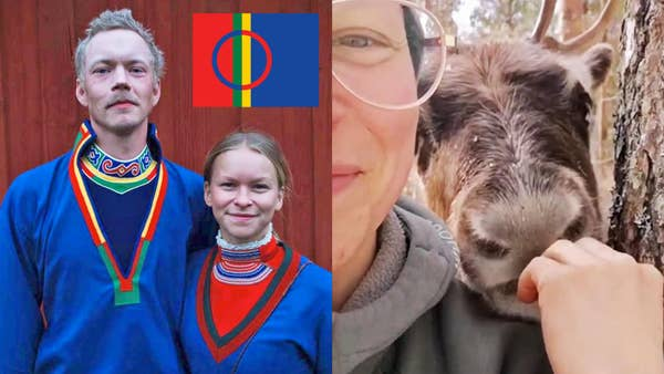 saami couple in traditional dress in first photo and the woman feeding a reindeer in the next photo