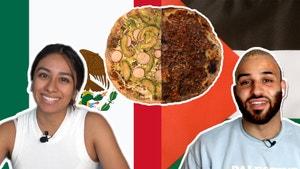 左边一个墨西哥女孩拿着盘子和墨西哥国旗。右边是一个拿着sfeeha盘子和巴勒斯坦国旗的阿拉伯人。