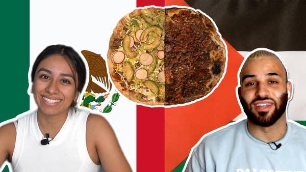 左边的墨西哥女孩与盘子tlayuda和墨西哥国旗。在右侧是一个带有Sfeeha Dish和巴勒斯坦国旗的阿拉伯人。