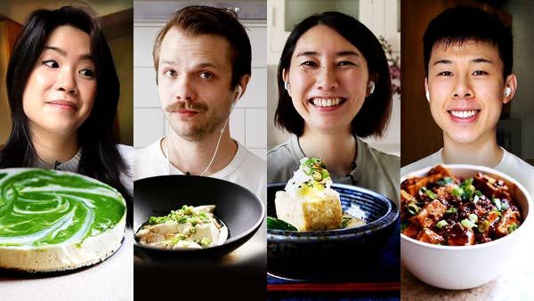 Inga, Andrew, Rie, and Alvin with their tofu dishes.
