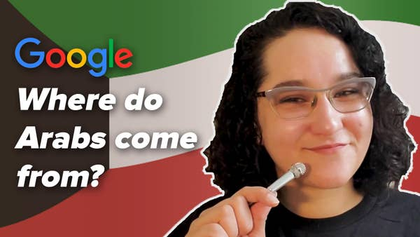 """Woman with tiny microphone in front of a Kuwaiti flag. Google logo in the top left corner. Text on the left reads """"Where do Arabs come from?"""