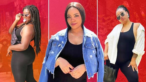 Elise, Ciel and Jazz pose in bodysuits.