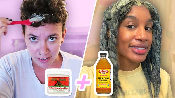 Megan and Shiquita try the aztec clay mask in their hair. nAztec clay plus apple cider vinegar is shown.