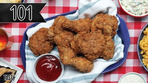 Tasty 101 banner over a plate full of FRIED CHICKEN