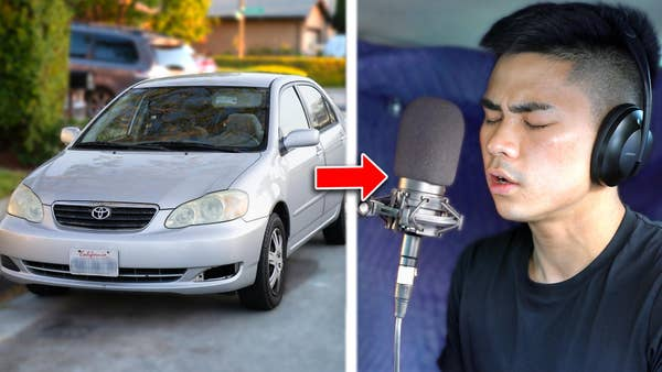 Toyota Corolla turned into a recording booth