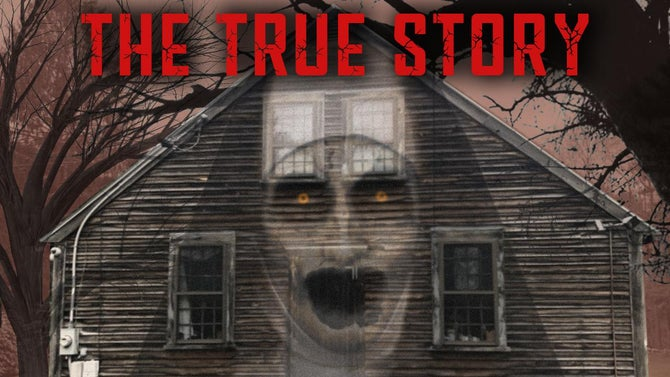 The True Story letters are in red above a wooden house with a possessed nun faded into the side.