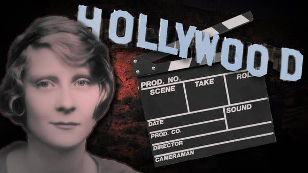 Image of young starlet with the Hollywood Sign and movie slate beside her