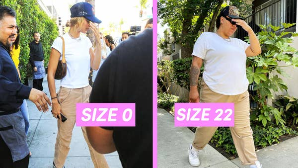 Side by side of two people in the same outfit, but one is a size 0 and the other is a size 22.