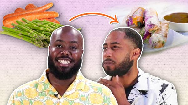 Chef Seth and James next to vegetables.